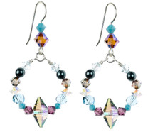 Colorful Circle Crystal Earrings. Brand New Design with Rare Swarovski and Sterling Silver.