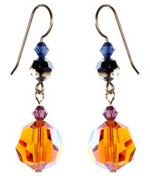 Orange Crystal Earrings - City Nights