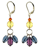 Purple & Blue Dangle Triple Drop Earrings - City Nights