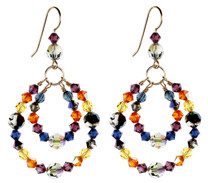 Double Hoop Crystal Earrings - City Nights