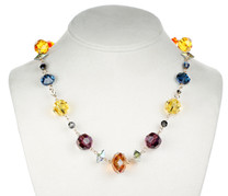 colorful crystal necklace with rare swarovski and 14K gold