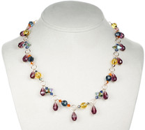 Purple droplet necklace with swarovski crystal and 14K gold