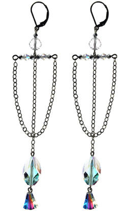 Sail boat bridal earrings are Made with SWAROVSKI ELEMENTS on Sterling Silver. Limited Edition.