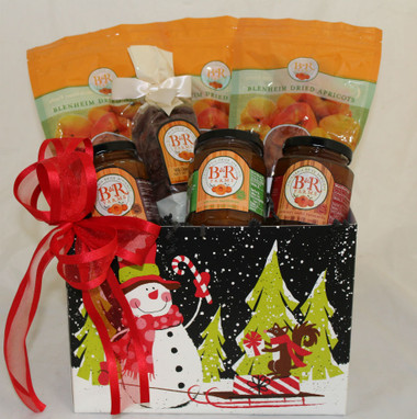 Country Sampler Holiday Basket- Royal Medallions, Old Fashion Slabs and Golden Slice Dried Blenheim Apricots, Milk Chocolate Covered Apricot Nibbles, Apricot Chutney, Preserves AND Chili Preserves