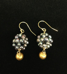 Gold Ball and Silver Pearl Earrings