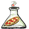 A small pepperoni pizza in a big scientific glass flask.