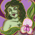 A lovely, zaftig pale green orc lady with dainty upthrust tusks, mauve makeup, and a Nouveau style background.