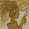 A wooden woman, her back half hollow. She has tree branches for hair.