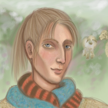 Deirdre: a lean,sharp-faced, hawk-nosed ash blonde with pale skin and blue and red scarves. There are green-grey hills and sheep in the background.