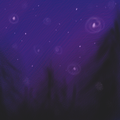 a vague starscape and indistinct evergreen trees.