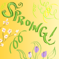 SPROING! in green on a yellow background with a few sketchy crocus and cherry blossoms.
