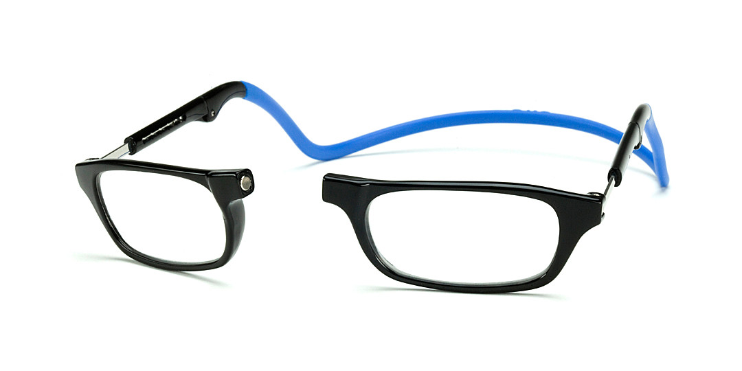 Clic Compact Reading Glasses in Black Frame with Blue ...