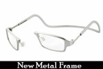 Clic One Metal Frame Reading Glasses in Platinum