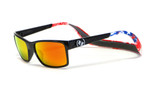 Hoven Eyewear MONIX in Black American Flag with Gloss Grey Fire Chrome Polarized