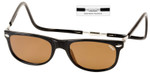 Clic Ashbury Wide Sunglasses in Black with Amber Lens