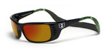 Hoven Eyewear Meal Ticket in Black Gloss with Green Camo & Fire Mirror Polarized