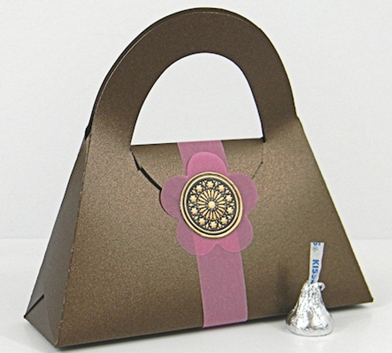 Large Purse Box shown in Shimmering Chocolate. Box Belt & Blossom not included.