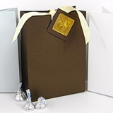 Large Bag Box shown in Shimmering Chocolate. Gift Tag, Foil Seal & Ribbon not included.