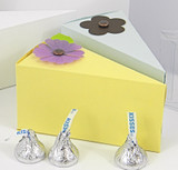 Small Cake Slice Boxes shown in Lemondrop & Shimmering Pale Blue. Blossoms not included.
