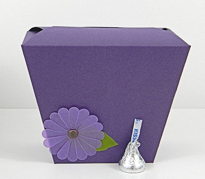 Large Take Out Box shown in Shimmering Purple. Blossoms not included.