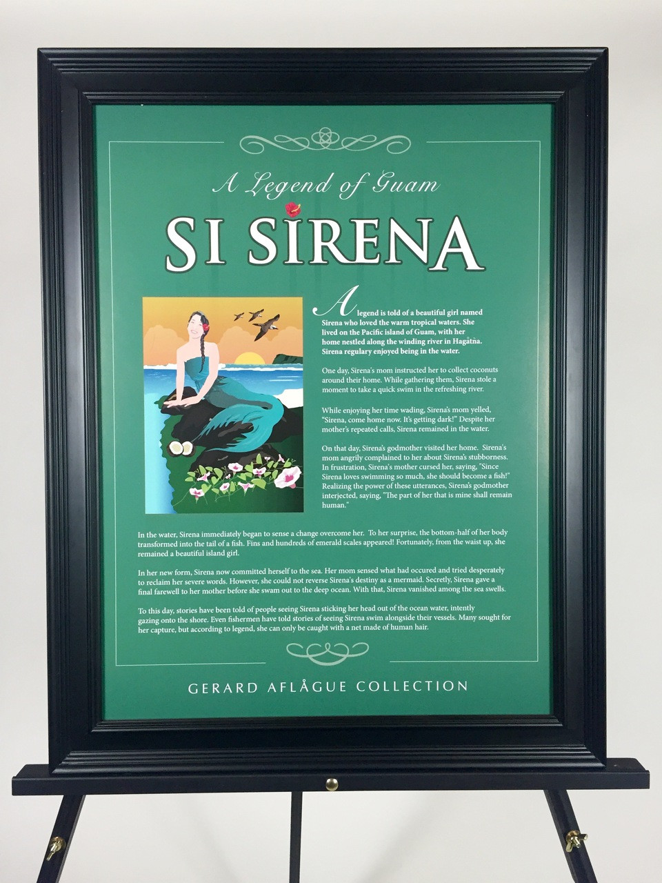 legend of guam si sirena illustrated story on poster 18x24 frame not included