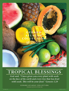 Tropical Blessings - Guam Fruits and Vegetables - Poster Illustration - 18x24 inches