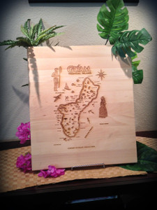 Large Chopping Board w/Lip - Island of Guam Map Etched (Full View)