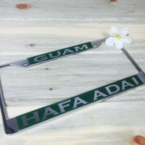 Jungle Green Hafa Adai Guam Chrome License Plate Frame