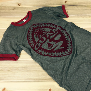 Guam Tribal Seal Unisex Red and Gray Soft T-Shirt