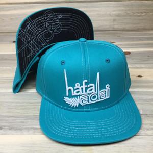 Limited: Hafa Adai Palm Teal Snapback Hat - Guam/CNMI