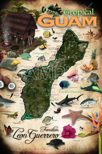 Personalized Tropical Guam Art Deco Poster Illustration - 24x36