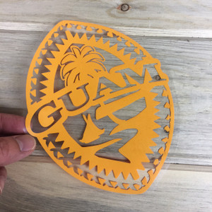 Tribal Guam Seal Yellow Vinyl Decal - 6x8