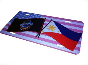 "Guam, Philippine, and USA Flags License Plate Design - 6"" x 12"" in aluminum"
