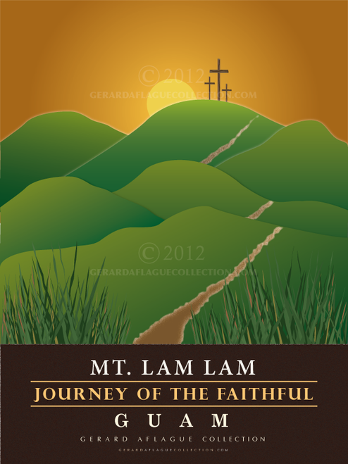 Mt. Lam Lam - Journey of the Faithful Poster Illustration - 18x24 inches