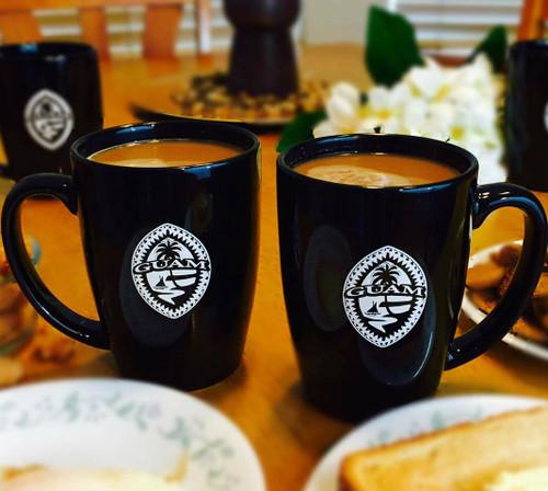 Tribal Guam Seal  2-pc Black Ceramic Mug Set - 14oz