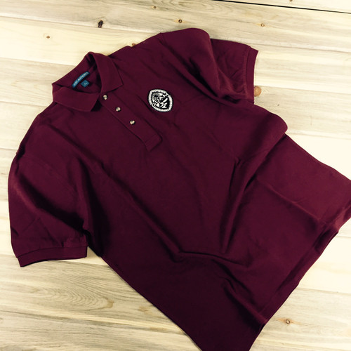 Men's Embroidered Modern Guam Seal Pique Knit Burgundy Polo