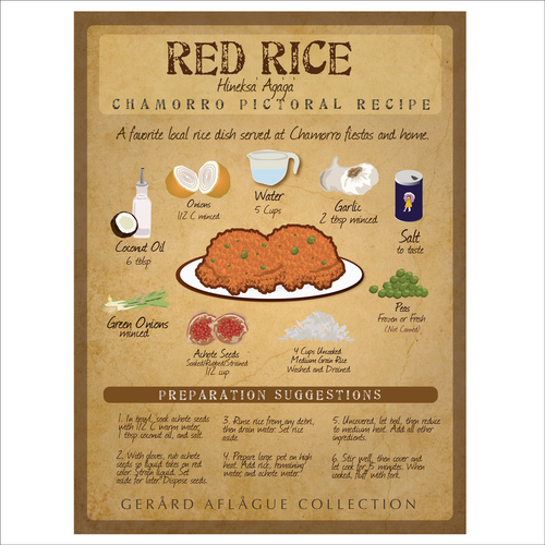 Red Rice Artful Recipe Board Illustration