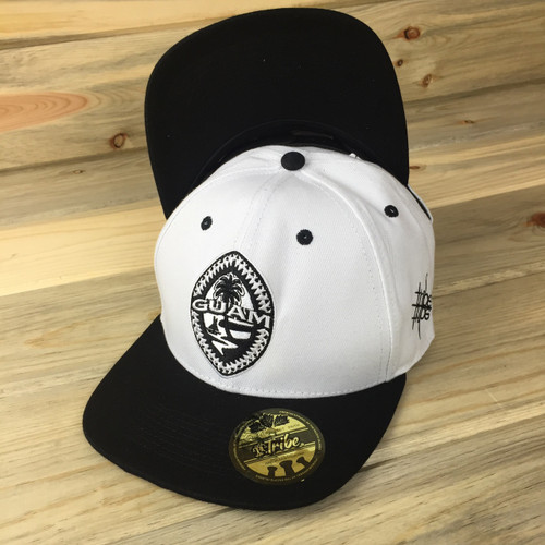 Black-White Tribal Guam Snap Back Hat