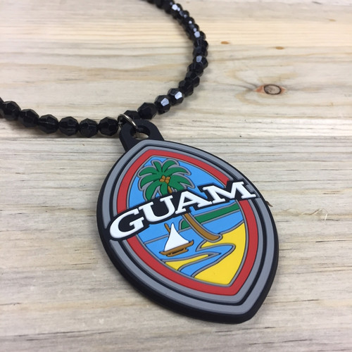 Modern Guam Seal Black Beaded Hanging Car Pendant
