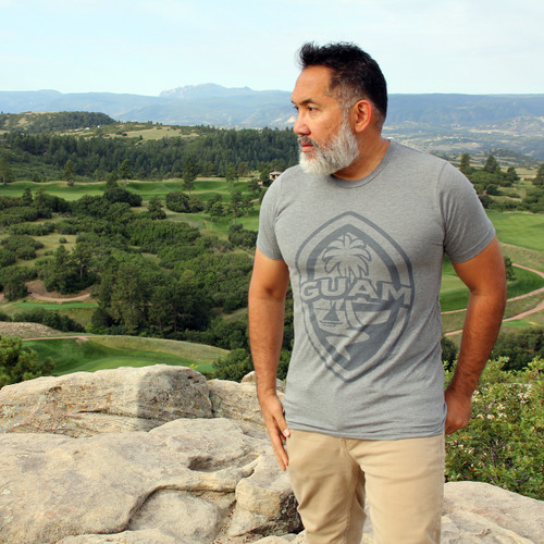 Extra Small Modern Guam Seal Gray Triblend T-Shirt