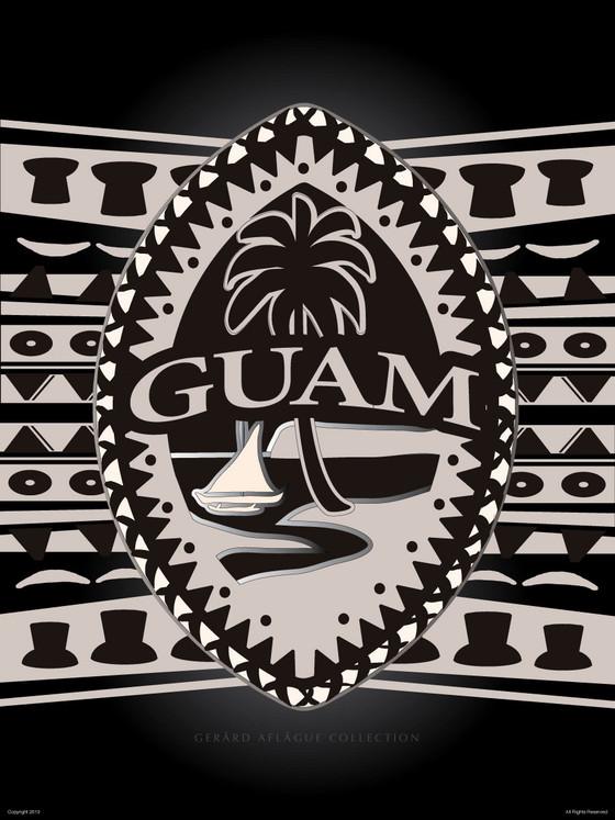 Tribal Guam Seal Motif Fine Art Poster Illustration