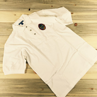 Men's Embroidered Modern Guam Seal Pique Knit White Polo