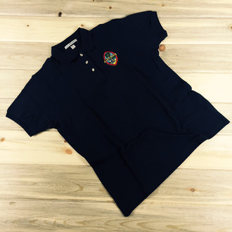 Ladies' Embroidered Modern Guam Seal Pique Knit Navy Blue Polo