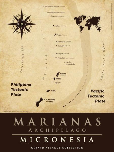 Guam Gifts Guam Art Marianas Map Parchment Illustration - Us parchment map