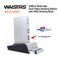 Winstars USB3.0 Multi-task Dual Video  Docking Station with HDD Docking Base