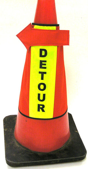 Custom Panel Traffic Cone Cover with directional arrow