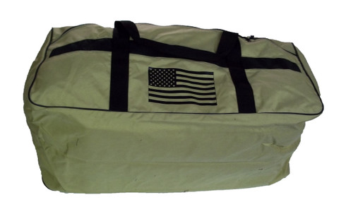 Tan Duffel Bag with black American flag