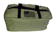 Tan Duffel Bag with black American flag