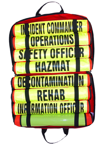 set of eight hazmat titled vests