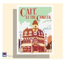Poster Cafe Corner Vintage Travel Poster
